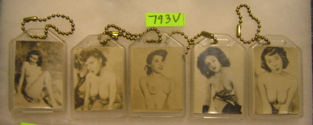 Group of vintage erotica nude model key chains