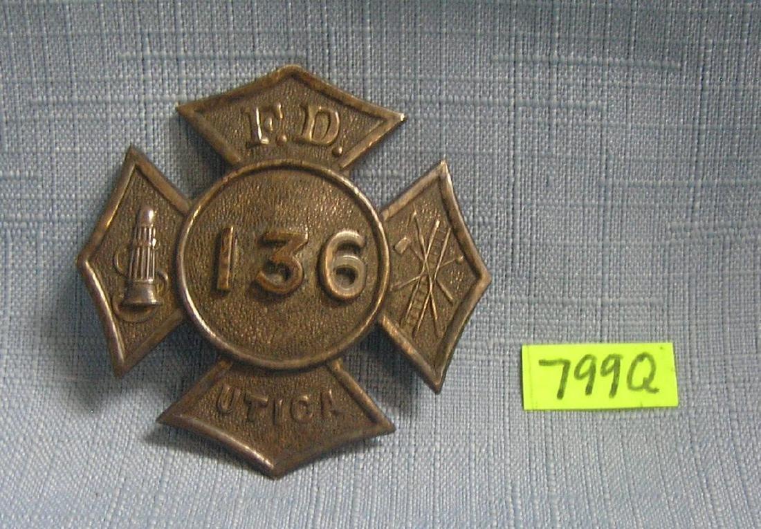 Antique Utica  F.D. chiefs hat shield