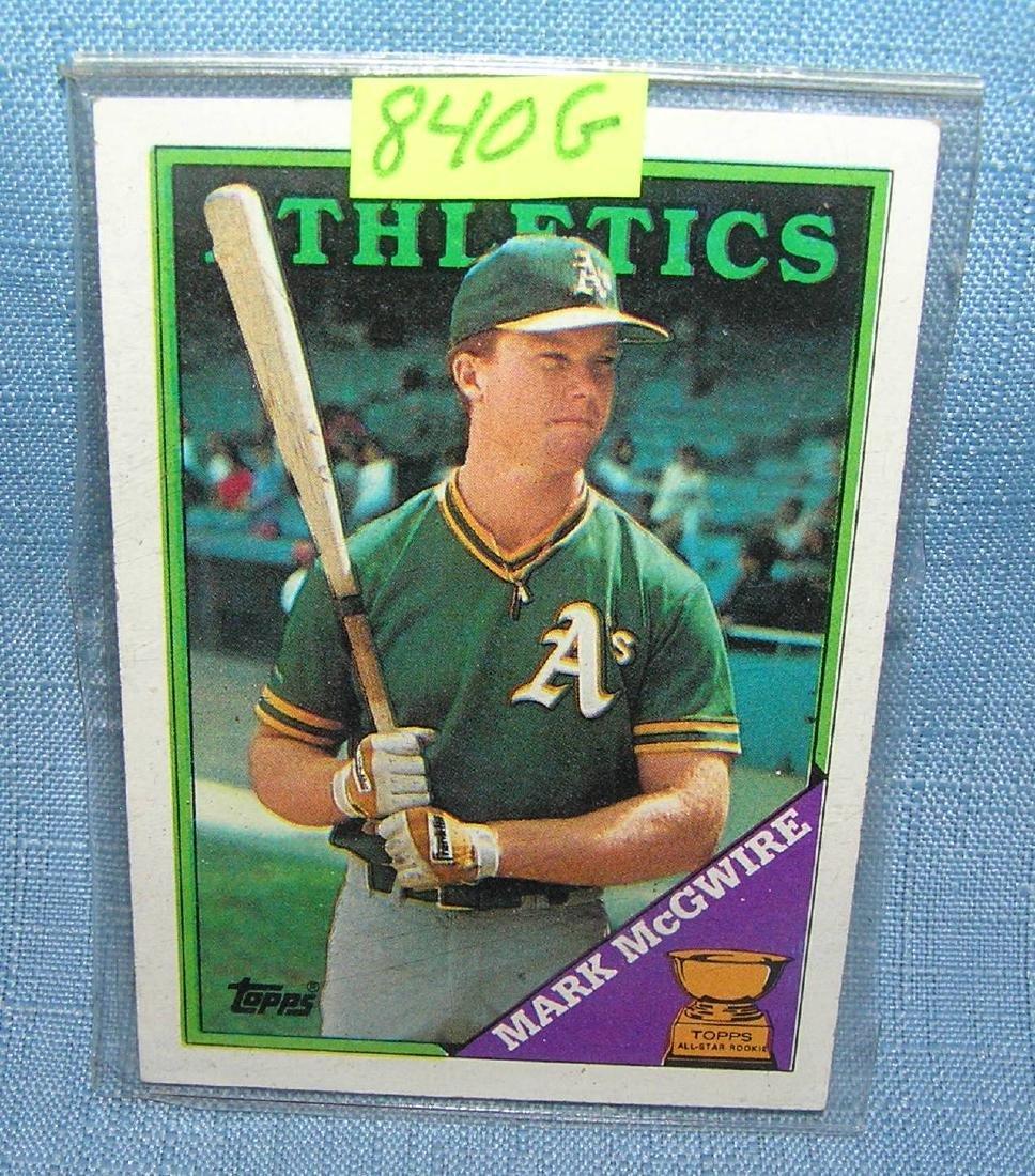 Vintage Mark McGwire rookie baseball card