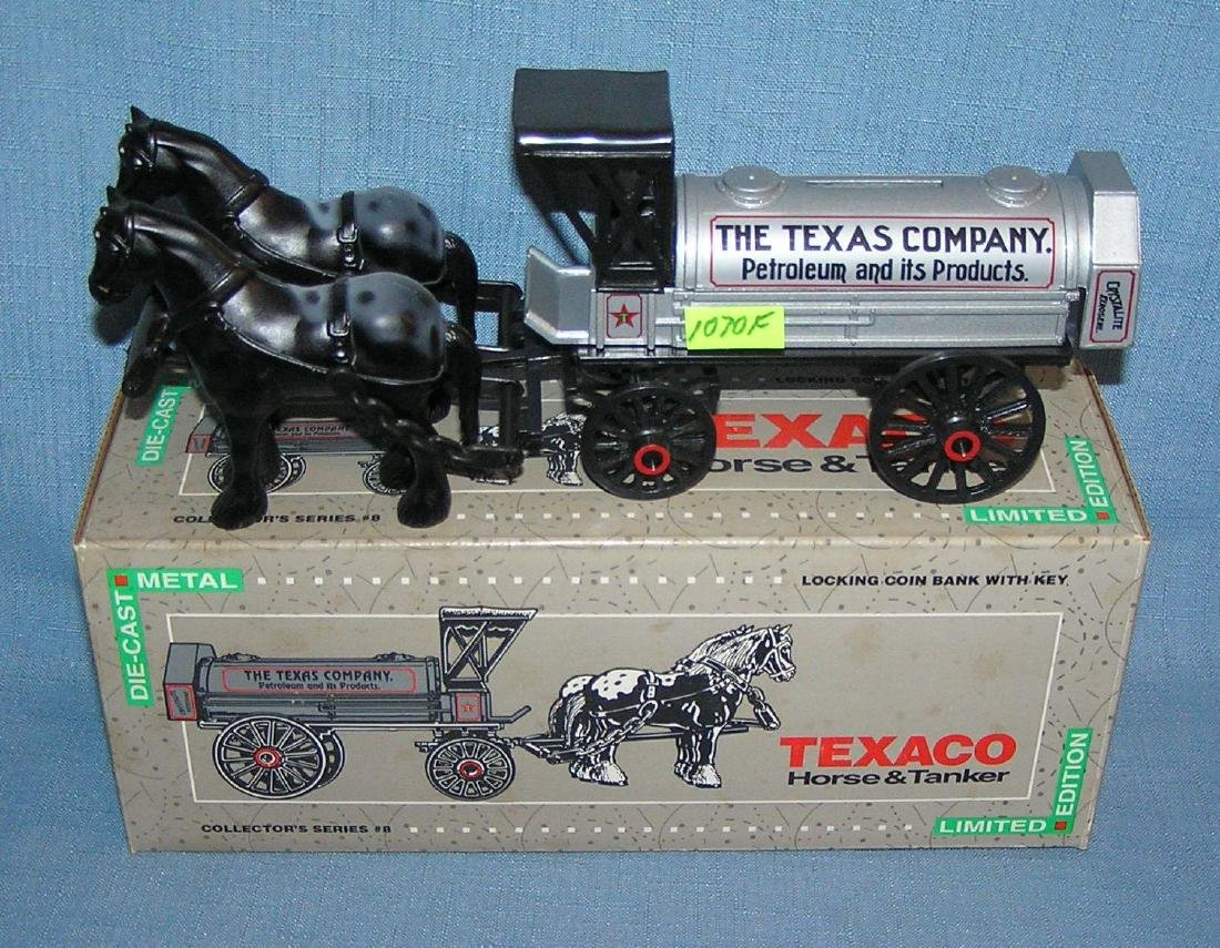 Texaco horse drawn tanker delivery bank