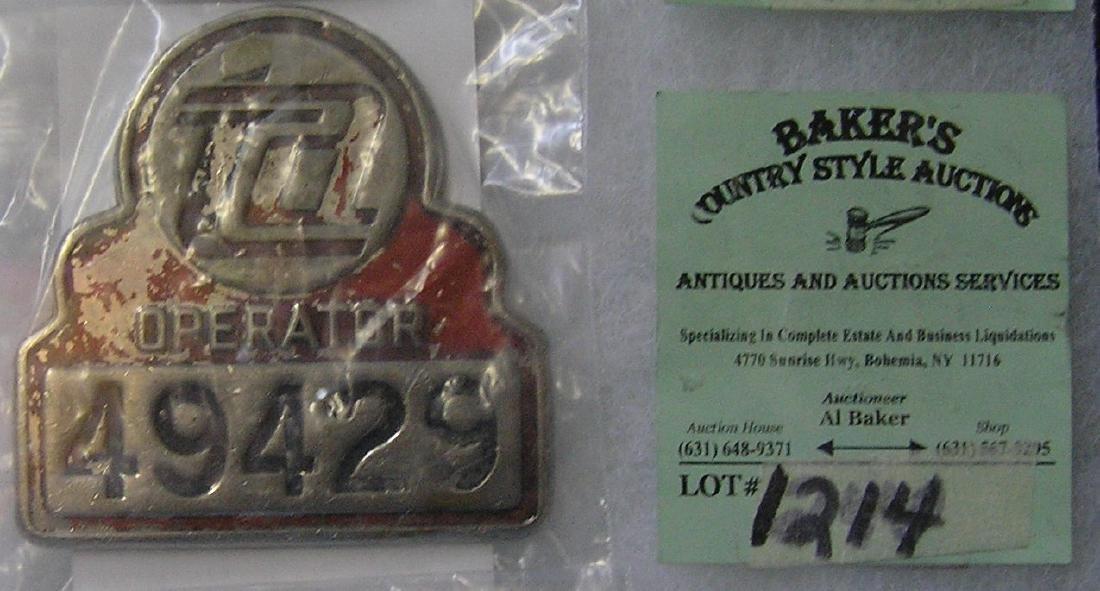 Vintage rail road train operator badge