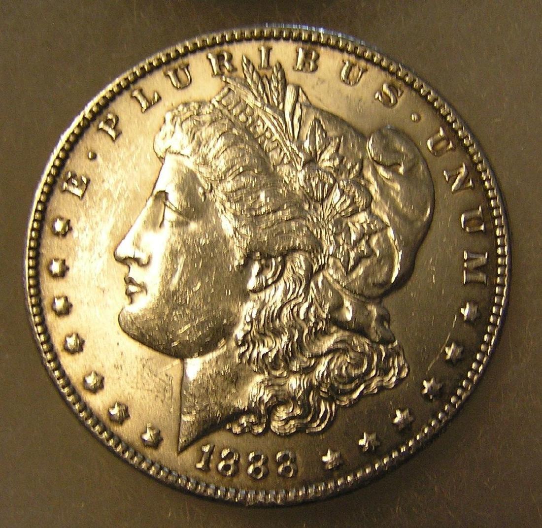 1888 Morgan silver dollar in very fine condition