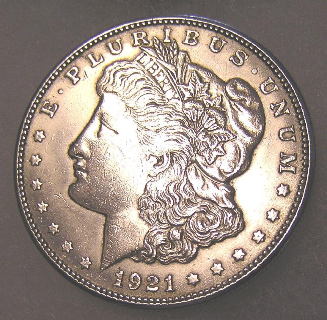 1921S Morgan silver dollar in very fine condition