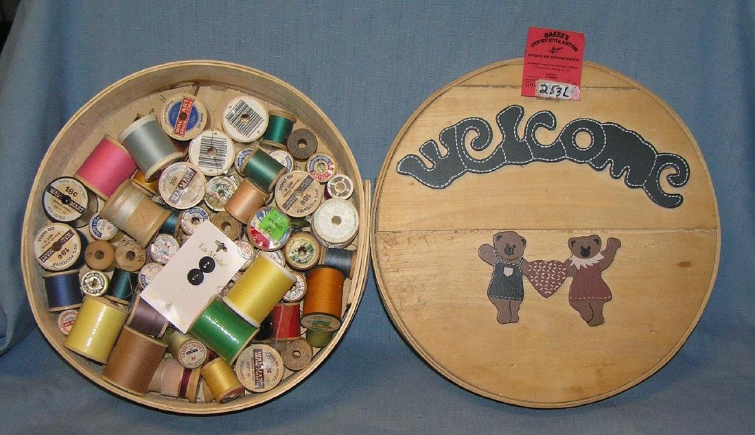 Bear decorated wooden sewing box