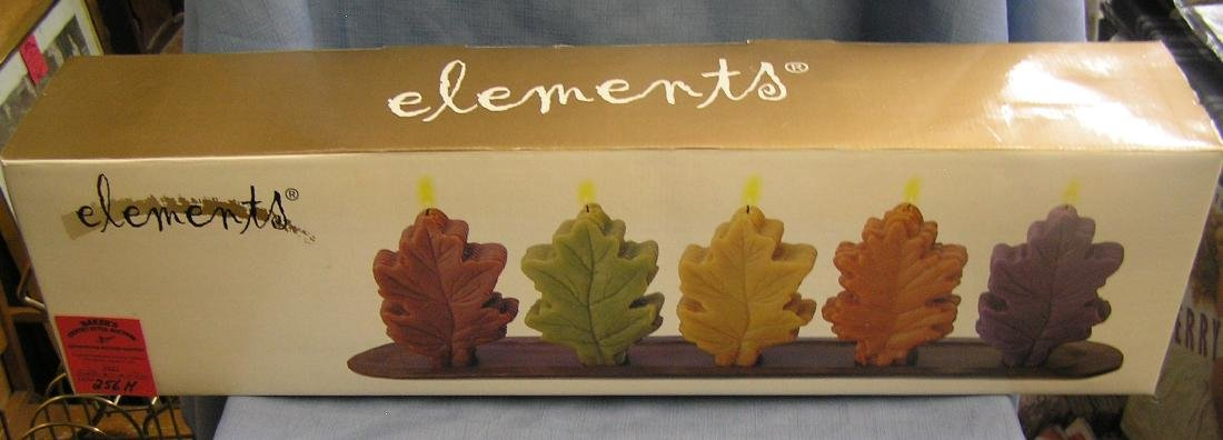 Elements box set of five leaf shaped candles