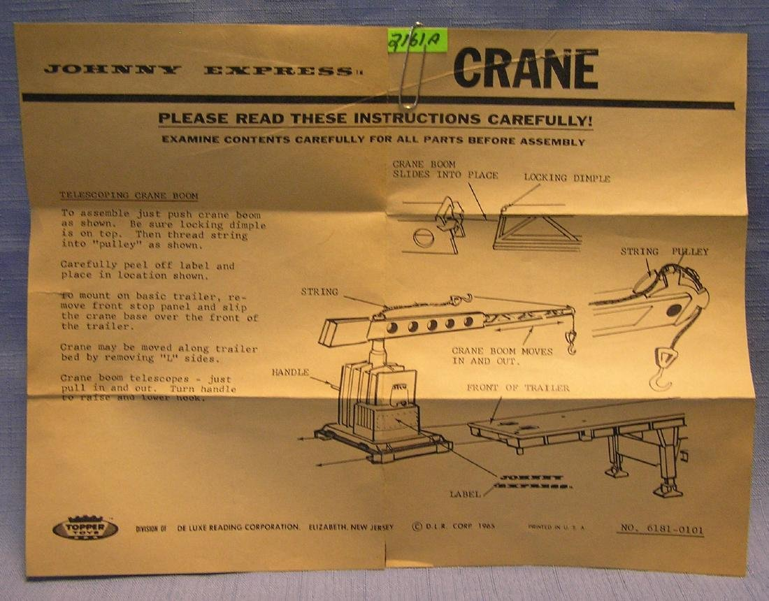 Topper Toys Johnny Express crane brochure
