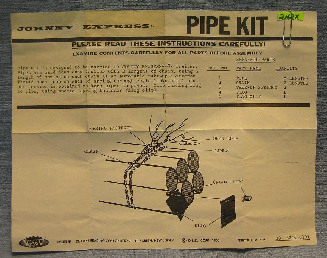 Vintage  Johnny Express pipe kit brochure