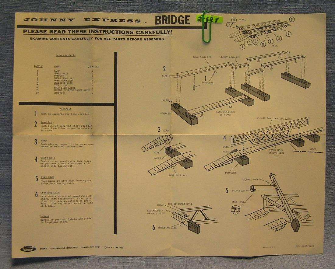 Vintage  Johnny Express bridge brochure