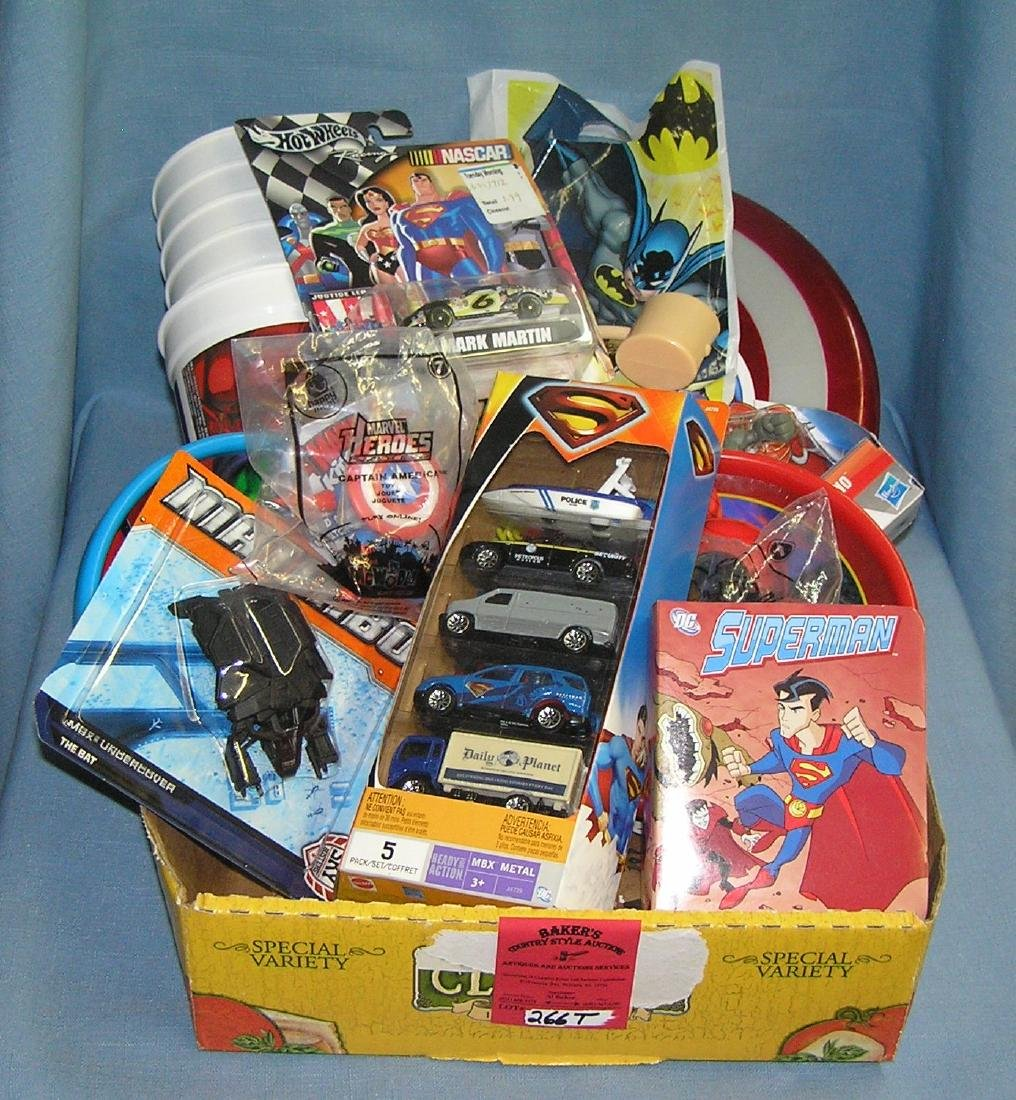 Box of fast food collectible toys and more