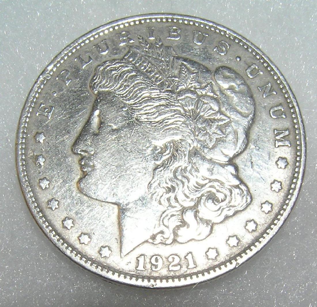 1921 Morgan silver dollar in very fine condition