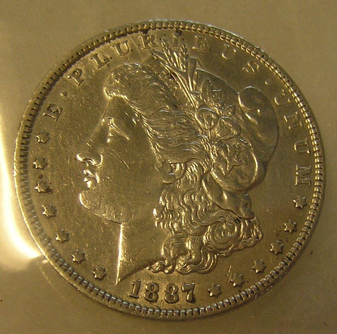 1887 Morgan silver dollar in excellent fine condition