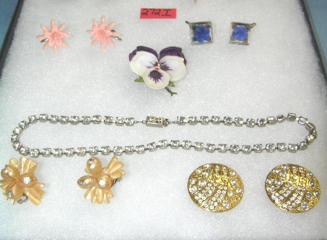 Costume jewelry earring sets, pin, necklace and more