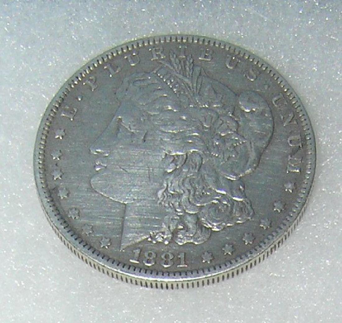 1881-O Morgan silver dollar in fine condition