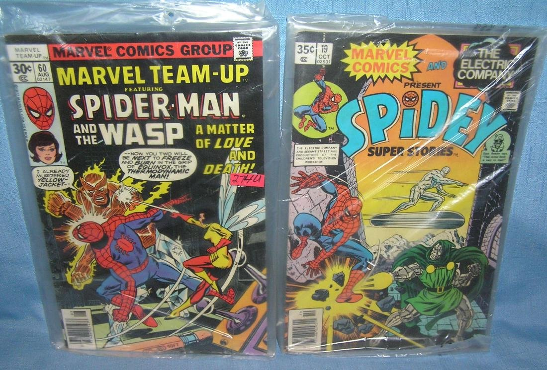 Pair of vintage Spiderman comic books 1976 and 1977