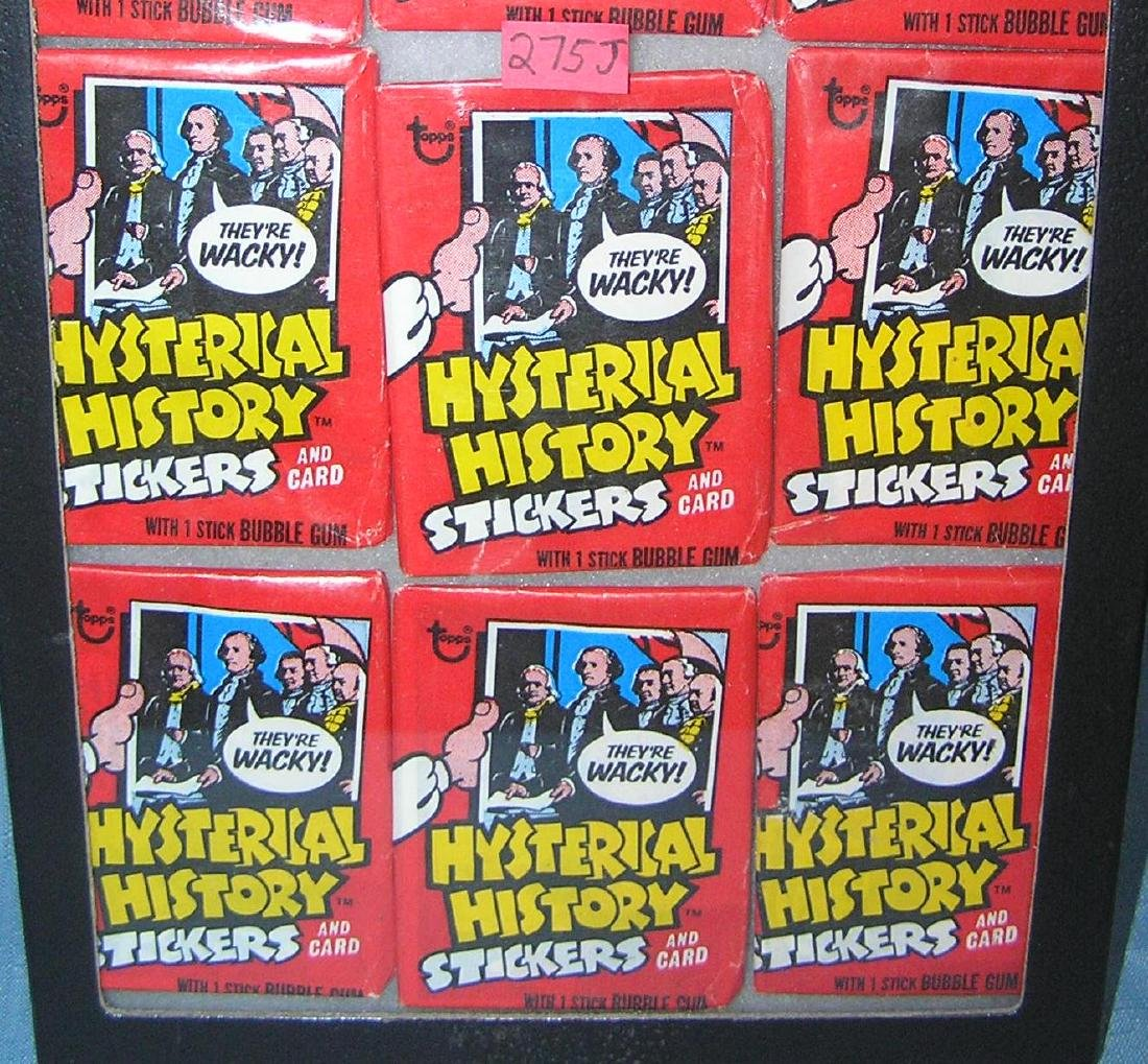 Group of vintage Hysterical History stickers and cards