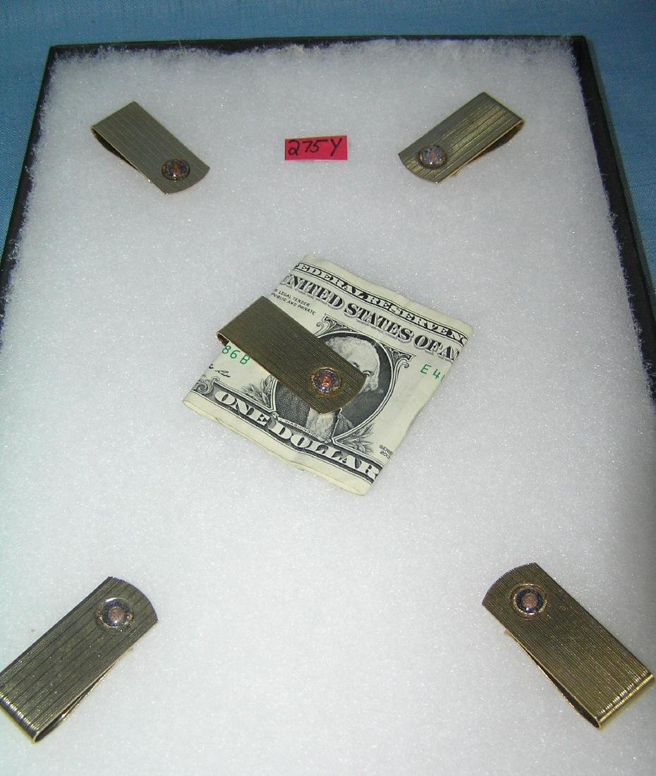 Group of gold plated American Legion money clips