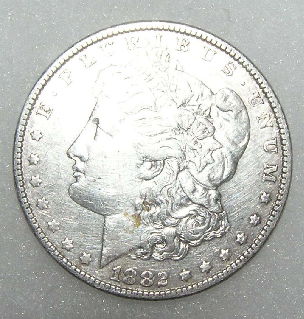 1882 Morgan silver dollar in very fine condition