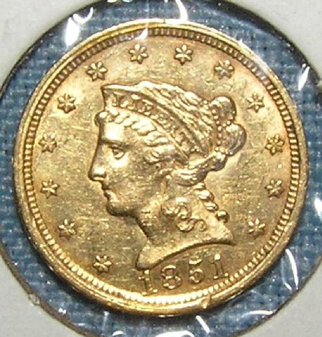 1851 Almost Uncirculated  2 1/2 dollar Liberty Head