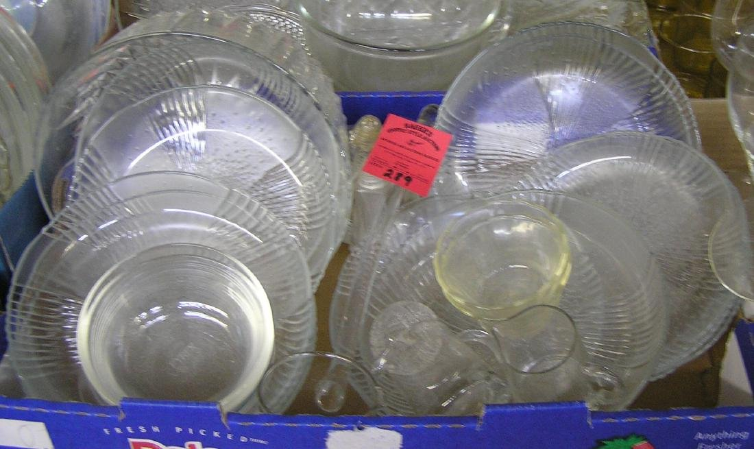Box of vintage glass and crystal serving pieces