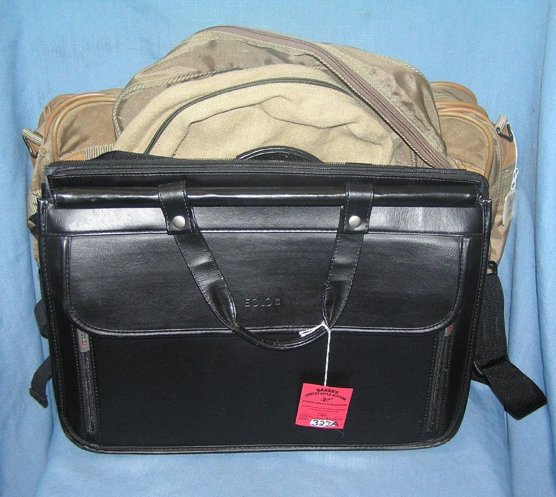 Leather and canvas brief cases and carry alls