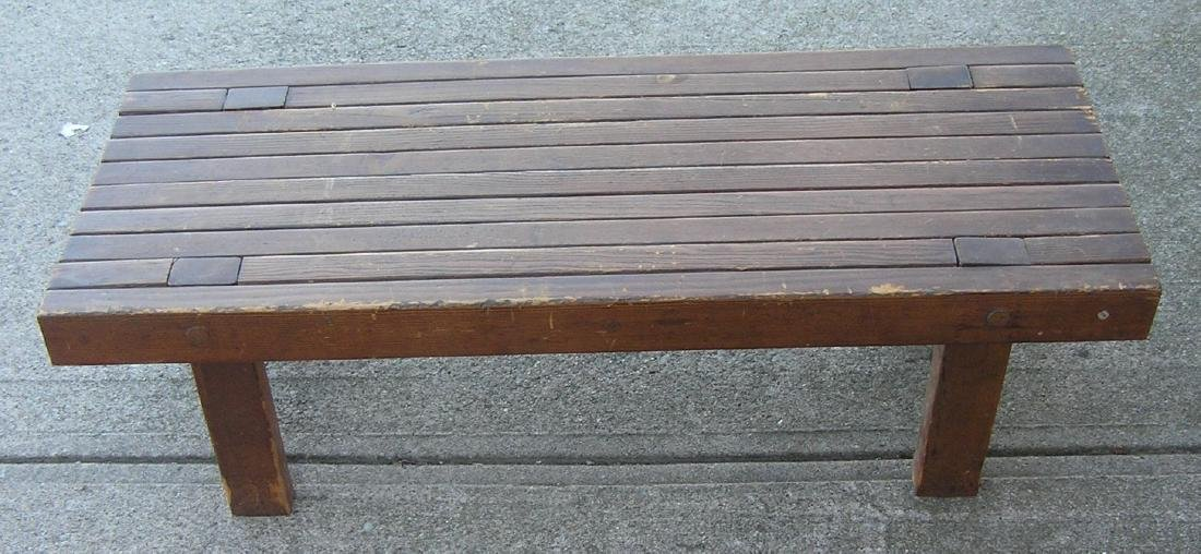 Mid century modern slotted hardwood side table