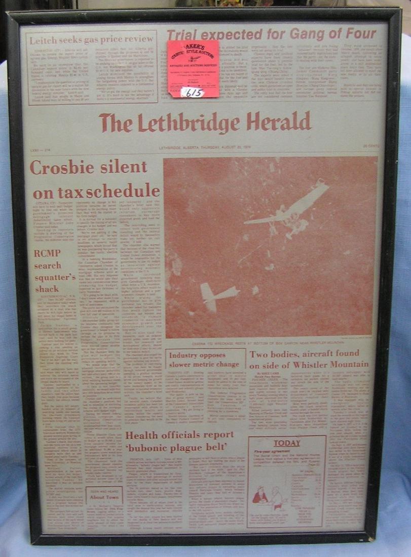 Vintage Lethbridge Herald framed newspaper
