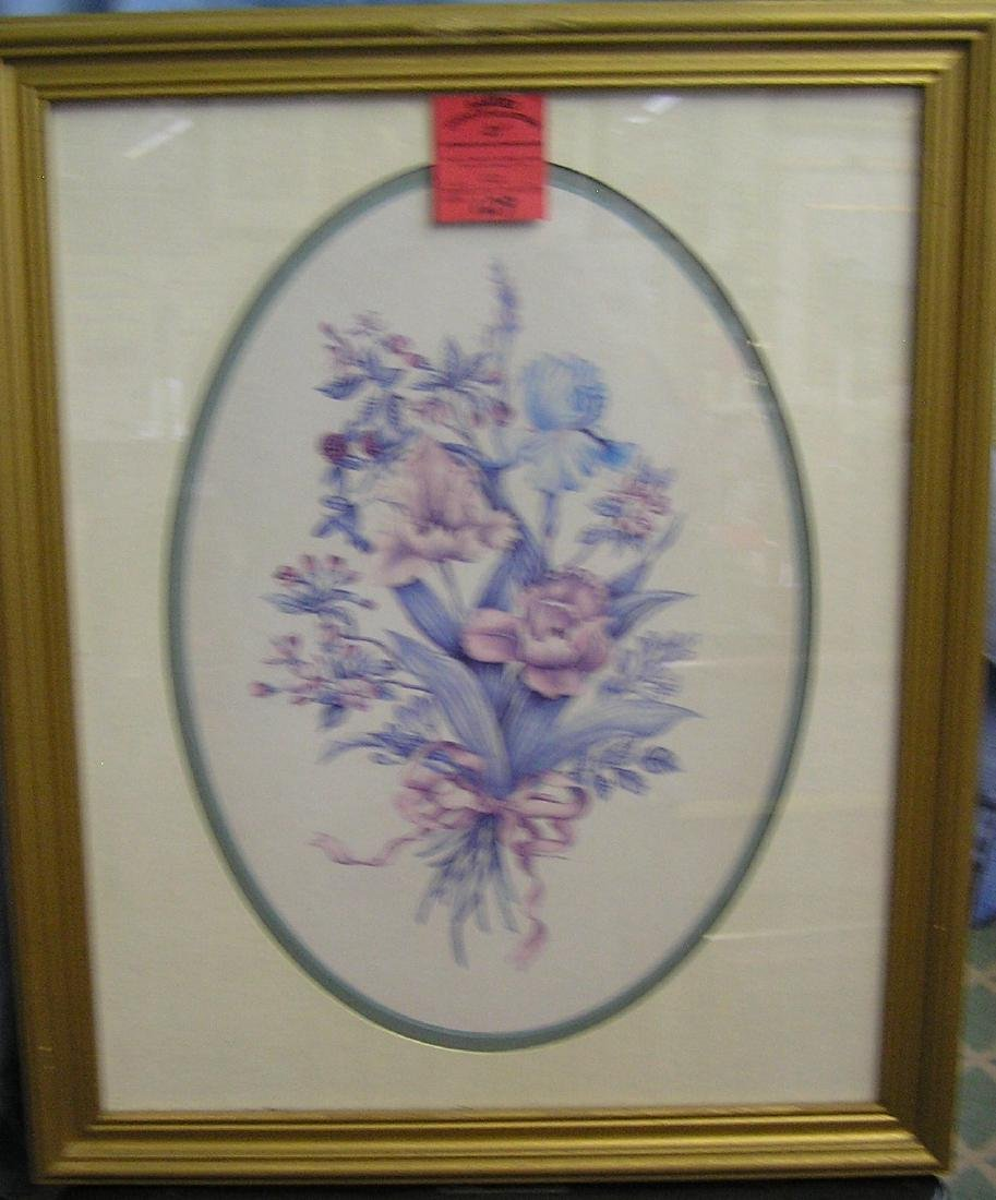Floral decorated matted and framed print