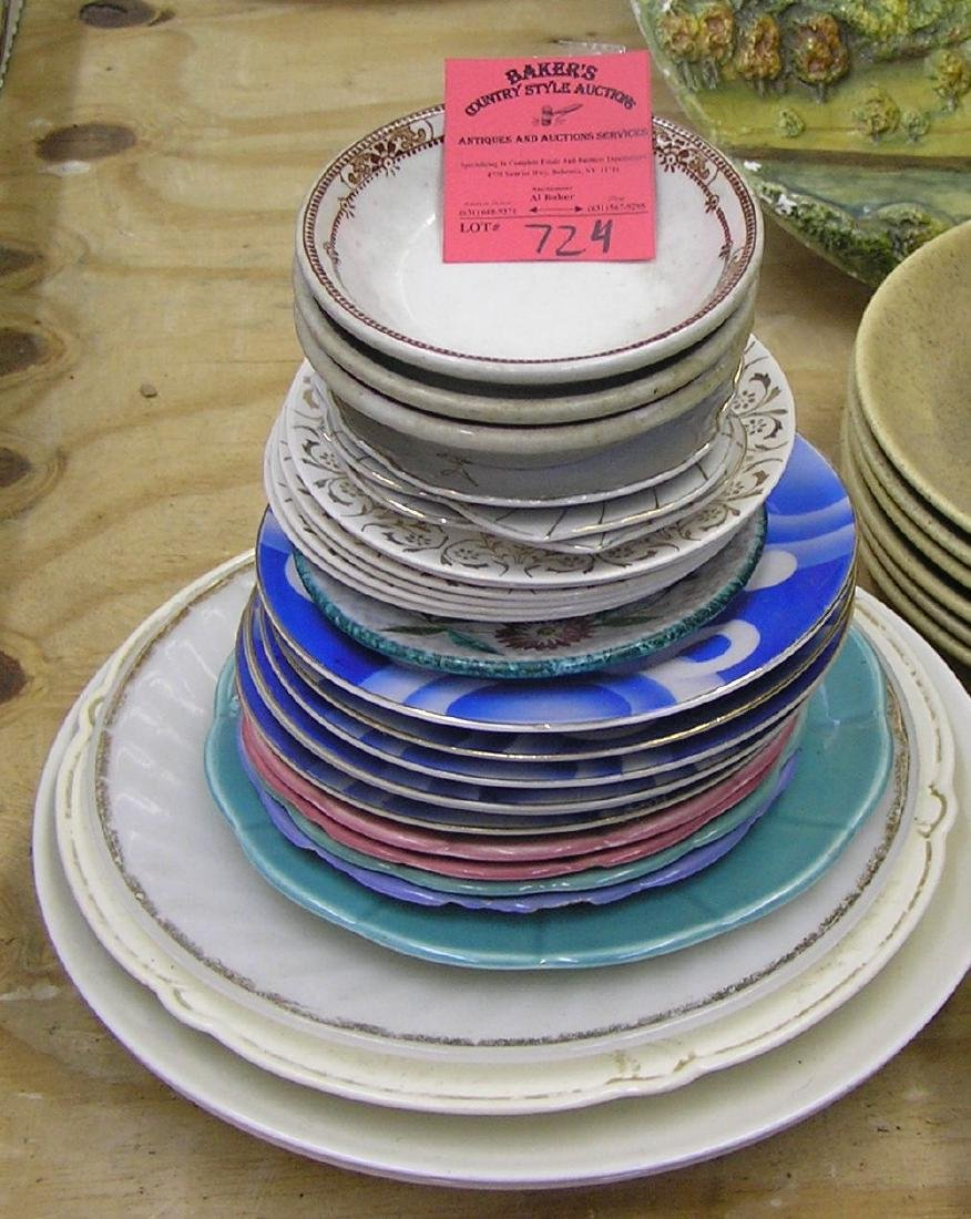 Large group of vintage serving plates and bowls