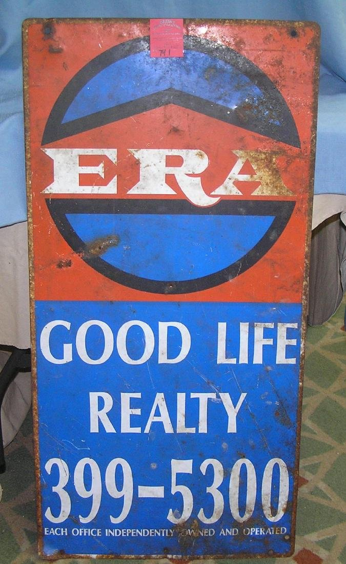 Early all metal realty sign