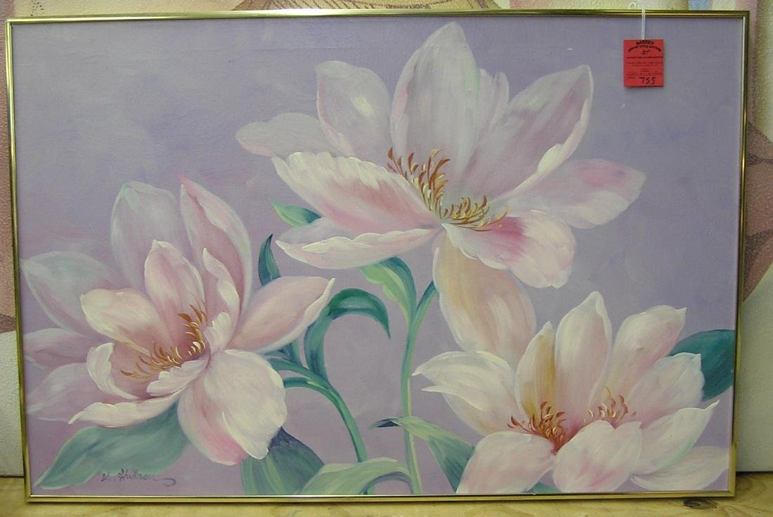 Artist signed oil on canvas floral painting