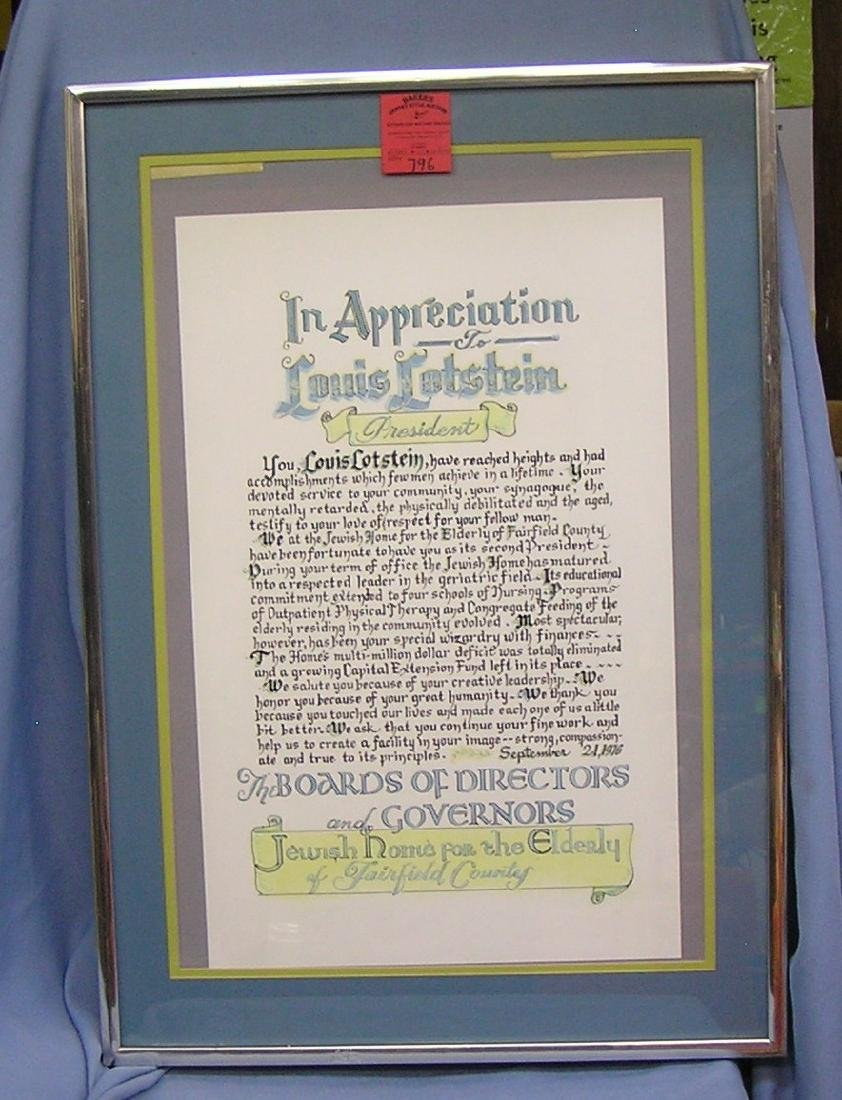 Professionally matted and framed appreciation award