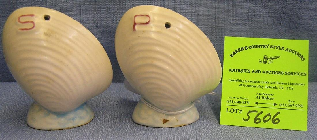 Pair of vintage clam shell shaped S & P shakers