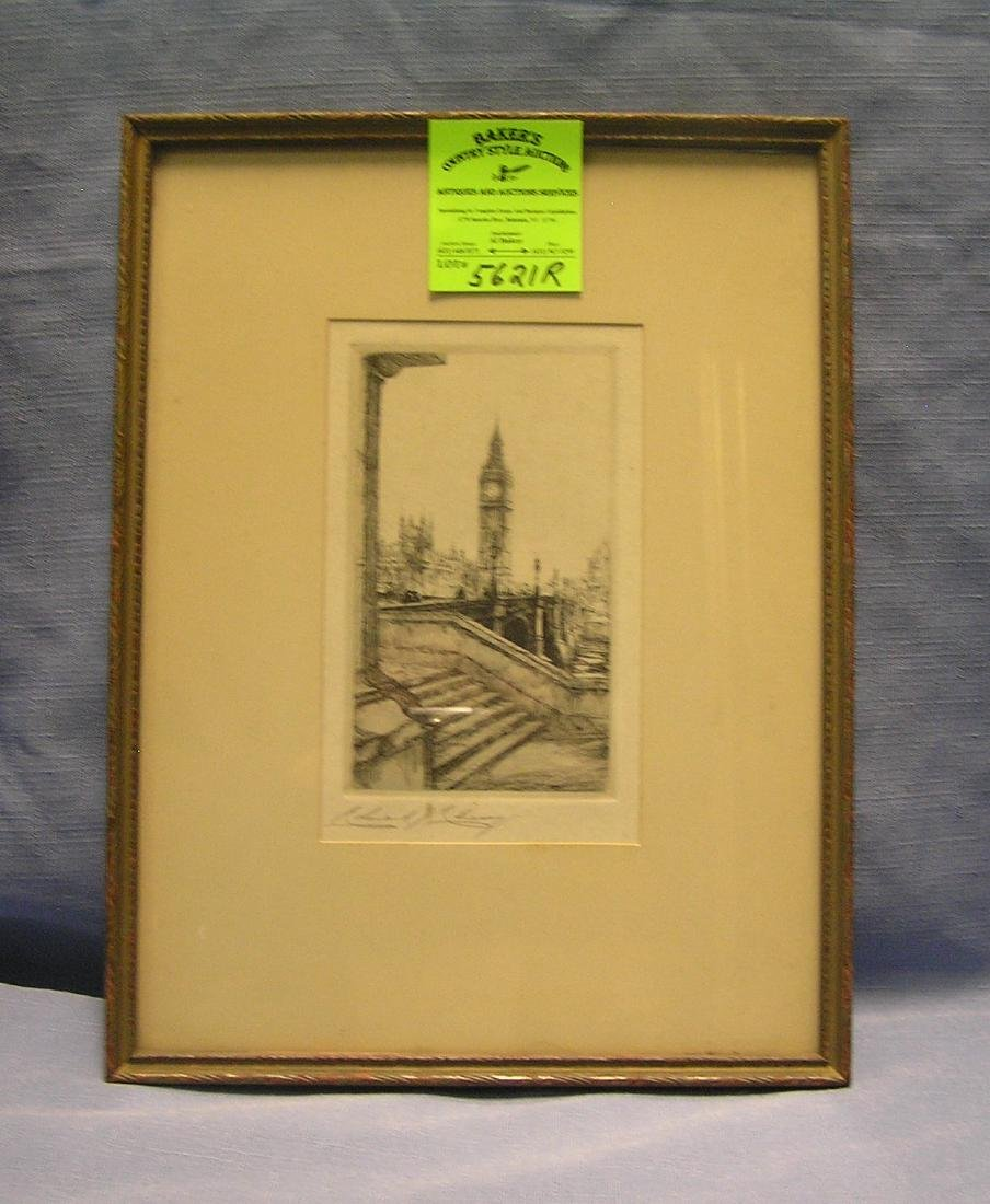 Antique original etching of the London Clock Tower