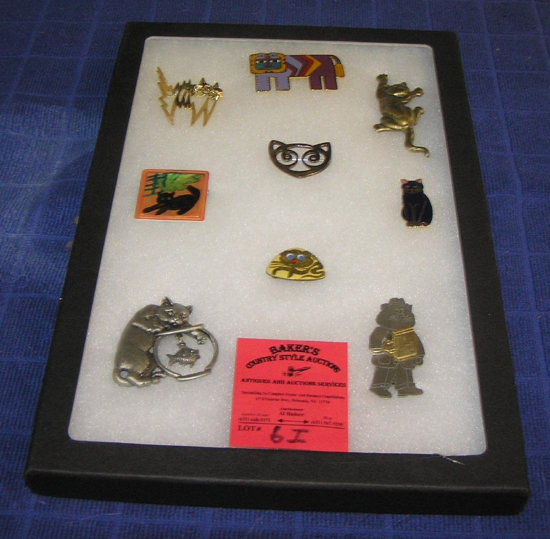 Collection of great vintage cat pins