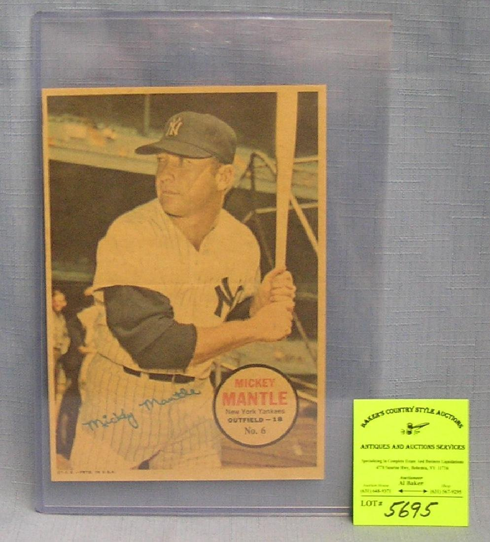 Vintage Topps Mickey Mantle colored photo poster