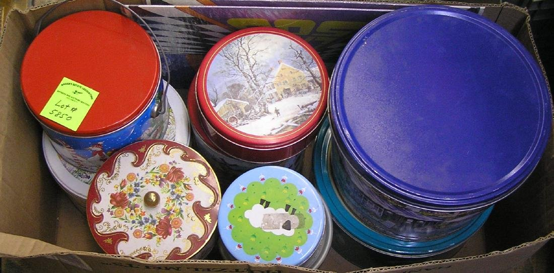 Large box of vintage holiday tins and more