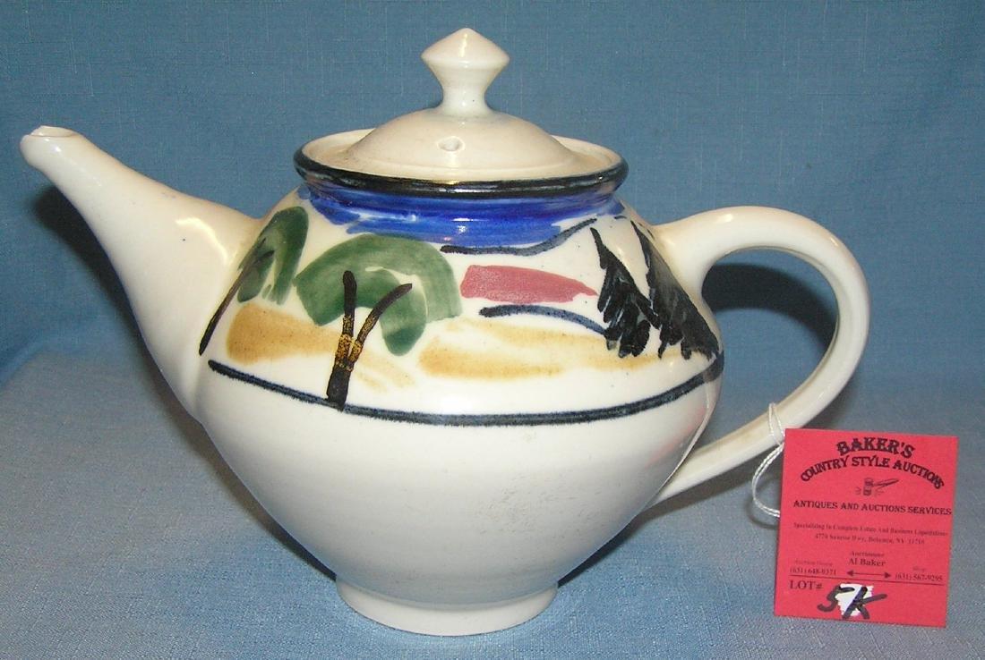 Artist signed hand painted tea pot