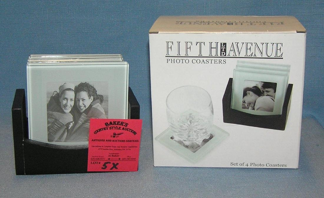 Group of 4 glass photo coasters with original box