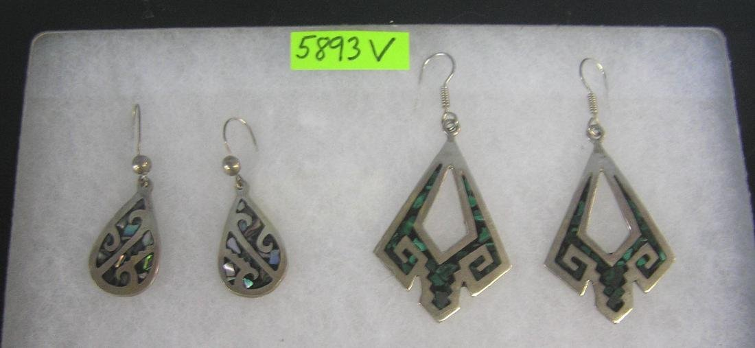 Mexican sterling silver and turquoise earrings
