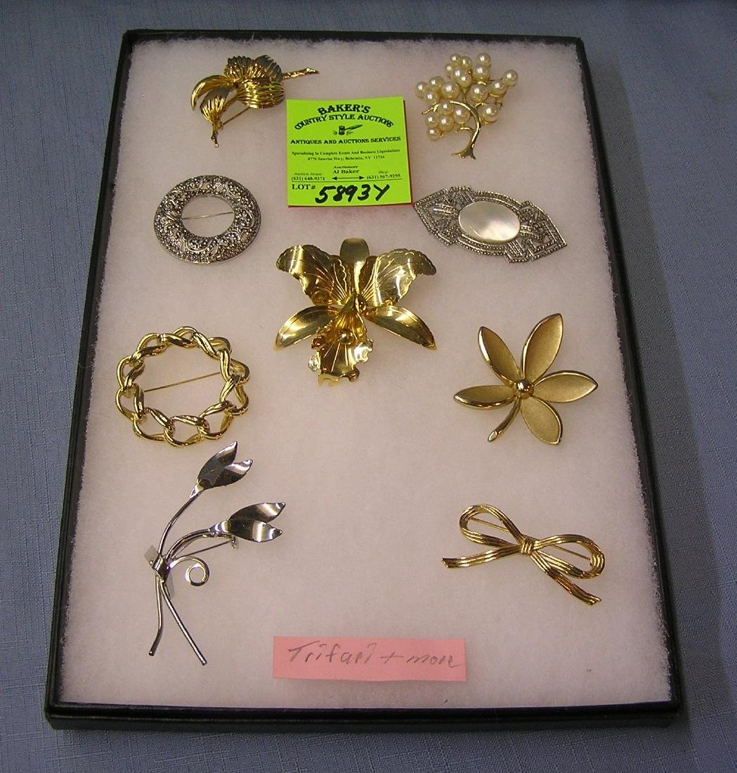 Great collection of vintage costume jewelry pins