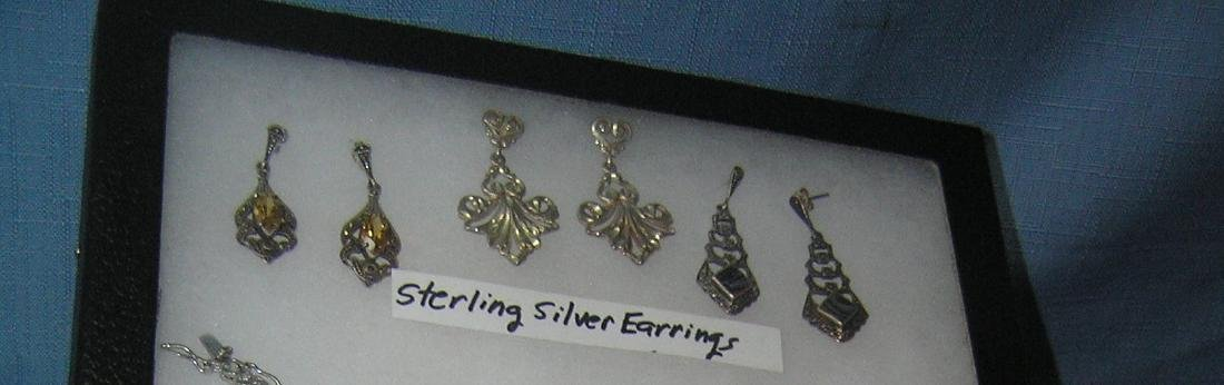 Group of sterling silver earrings