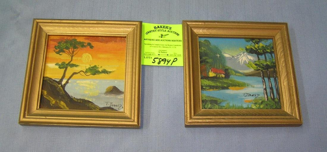 Pair of artist signed oil on board tropical themed