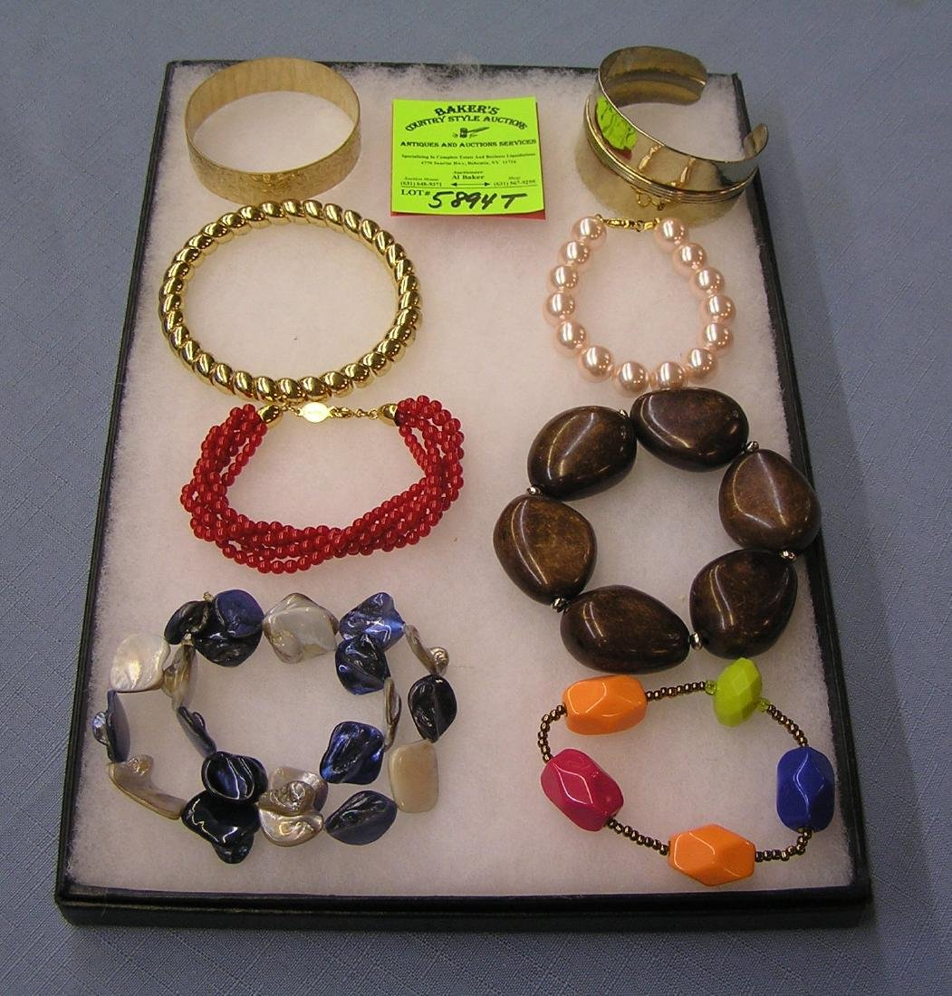 Group of vintage costume jewelry bracelets