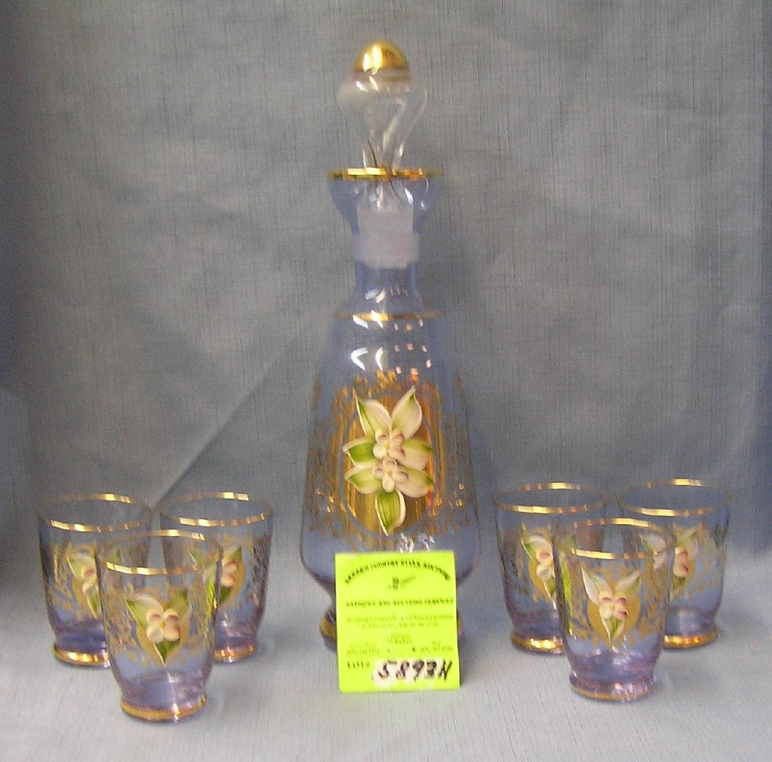 Hand painted floral decorated decanter set