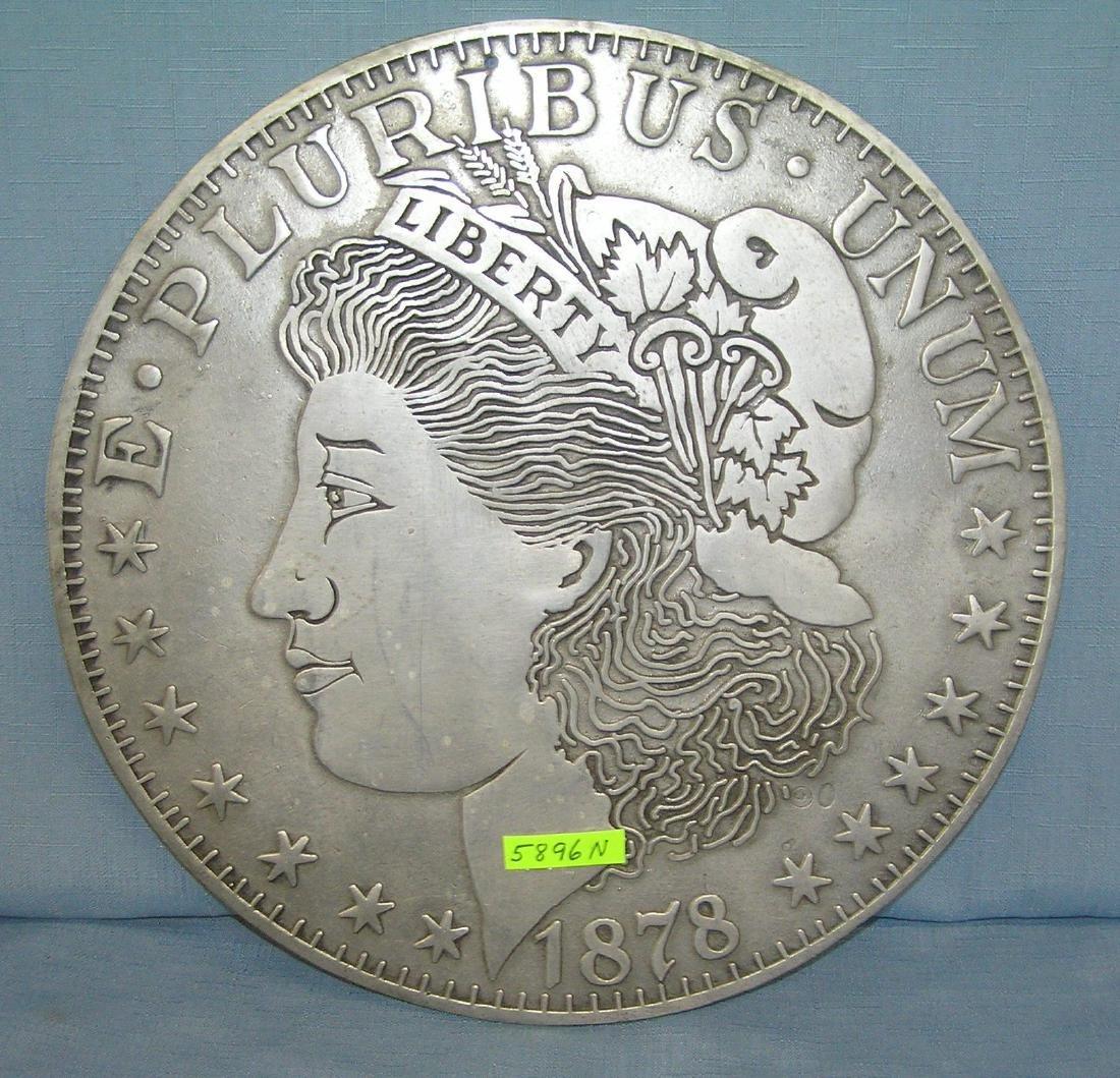 Morgan silver dollar style metal wall plaque