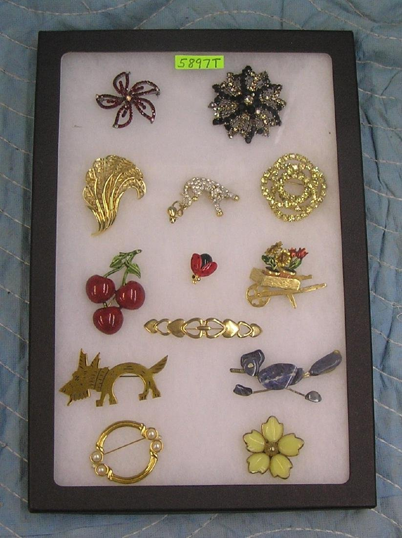 Collection of great vintage costume jewelry pins