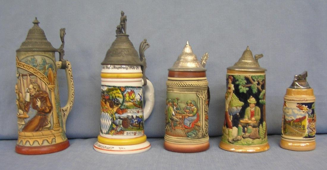 Group of 5 vintage beer steins