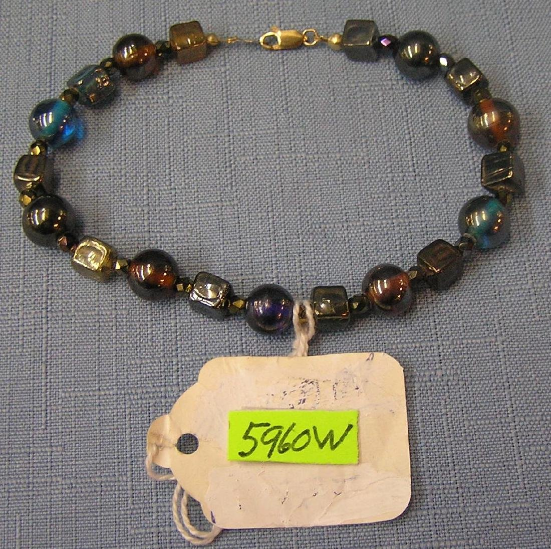 Vintage gold filled and multi colored stone bracelet