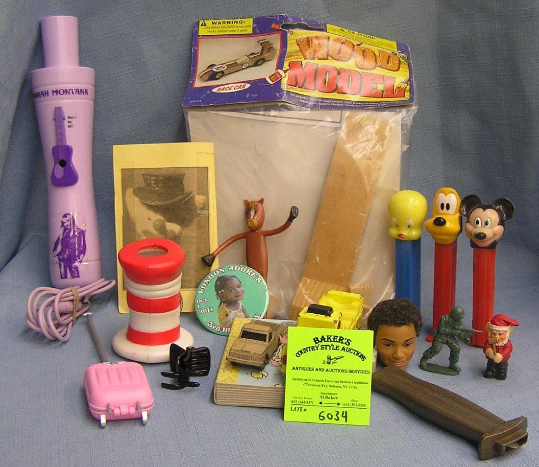 Group of vintage toys, action figures, PEZ and more