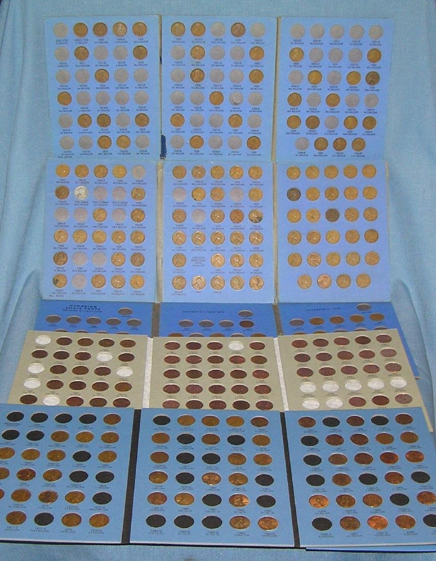 Collection of vintage Lincoln pennies in collectors